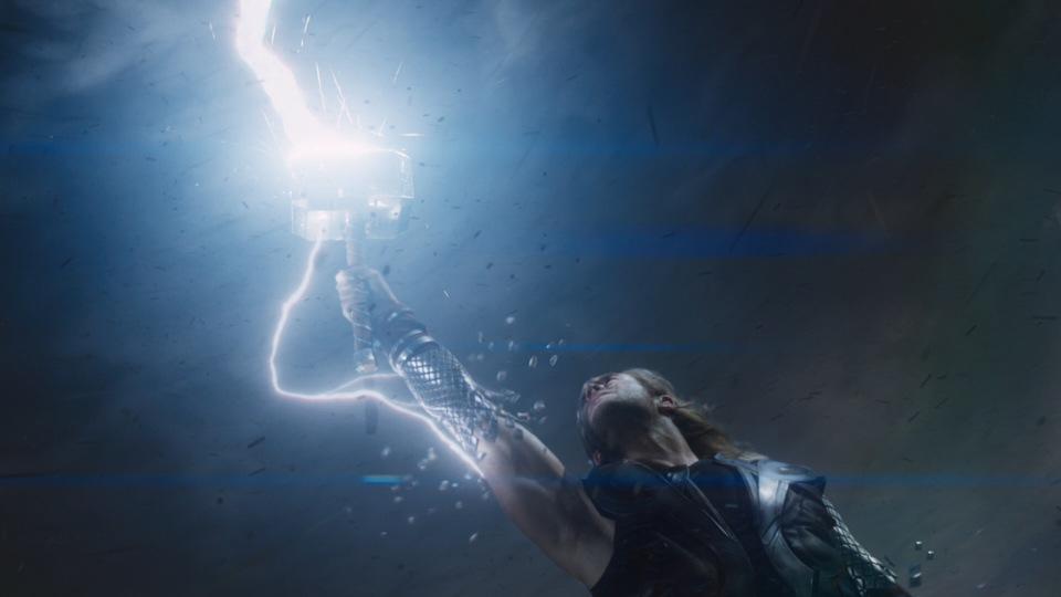 Thor wielding Mjolnir (The Avengers 2012)